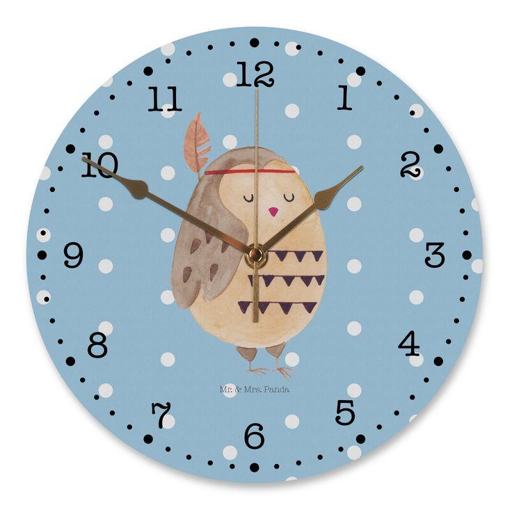 """30 cm Wanduhr Eule Indianer aus MDF  Weiß - Das Original von Mr. & Mrs. Panda.  Diese wunderschöne Uhr von  Mr. & Mrs. Panda wird liebeveoll in unserem Hause bedruckt und an sie versendet. Sie ist das perfekte Geschenk für kleine und große Kinder, Weltenbummler und Naturliebhaber. Sie hat eine Grösse von 30 cm und ein absolut LAUTLOSES Uhrwerk.    Über unser Motiv Eule Indianer  Ganz nach dem Motto """"Das Leben ist ein Abenteuer"""". Die wunderbare Indianer Eule von Mr. & Mrs. Panda…"""