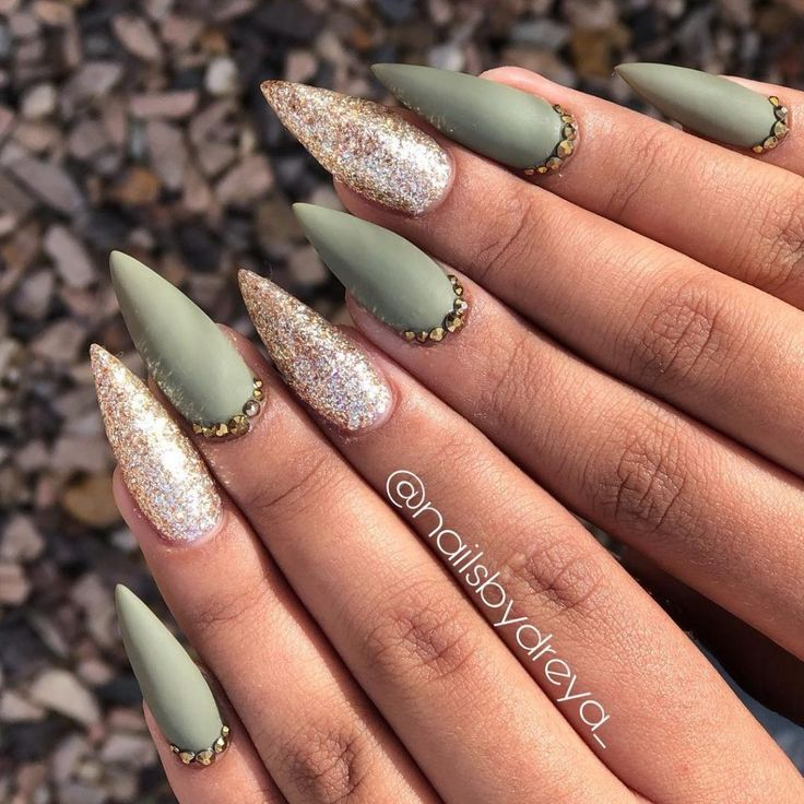 Such a cute matte olive green stiletto nails for fall time ...