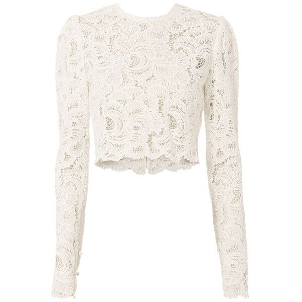 A.L.C. Women's Talia Lace Top featuring polyvore, women's fashion, clothing, tops, shirts, crop tops, long sleeves, white, long-sleeve shirt, lace shirt, white long sleeve shirt, lace top and white shirt