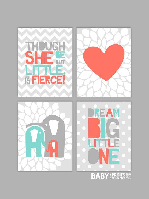 Baby Girl Nursery art prints, Set of 4 11x14. Elephant, Coral, Turquoise, Grey, Dream big little one, Heart on Etsy, $68.00