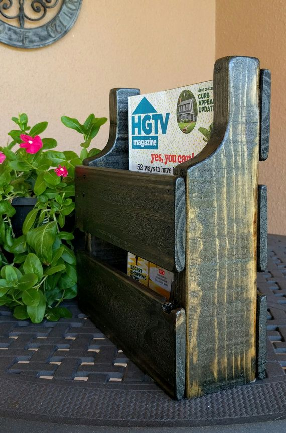 Rustic Magazine Rack made from Reclaimed and by WoodXDesigns