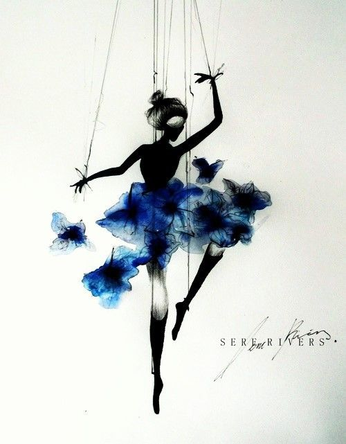 amazing, art, awesome, ballerina, black, blue, colorful, cool, cute, dance, drawing, flowes, girl, puppet
