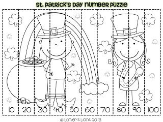 St. Patrick's Day themed counting by 10's number puzzle FREEBIE and math center ideas