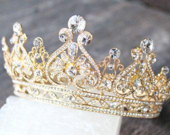 Full Bridal Crown with Pearls ALEXANDRA von EdenLuxeBridal auf Etsy