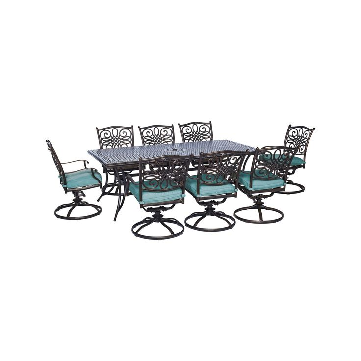 """Seasons 9pc Dining Set With Eight Swivel Dining Chairs And a Large 84"""" X 42""""Dining Table - Blue - Hanover"""