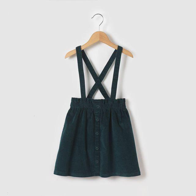 Besoin d'idées pour la rentrée des petits? Une magnifique jupe bretelle en velour!