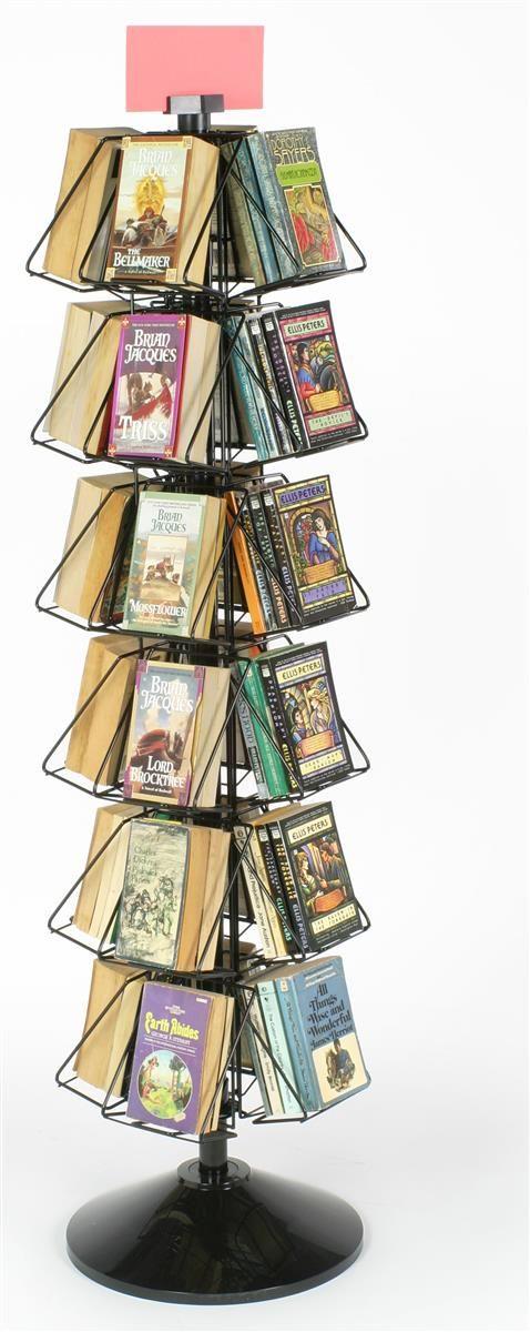 24-Pocket Book or DVD Stand for Floor, Full-View Pockets, Header Clip - Black