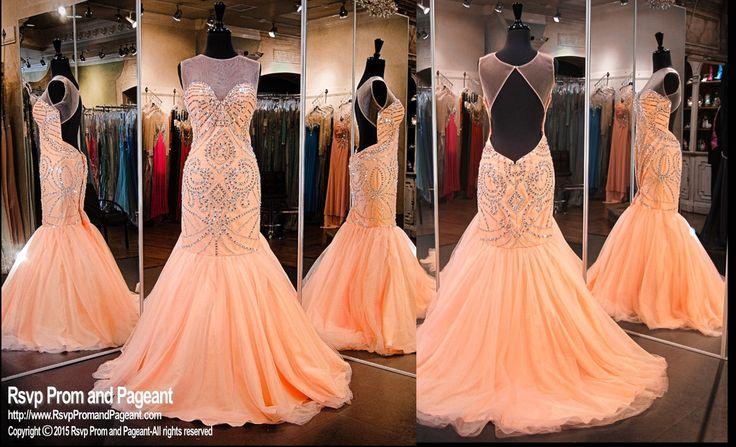 Peach Beaded Mermaid Prom Pageant Dress-High Illusion Neckline ...