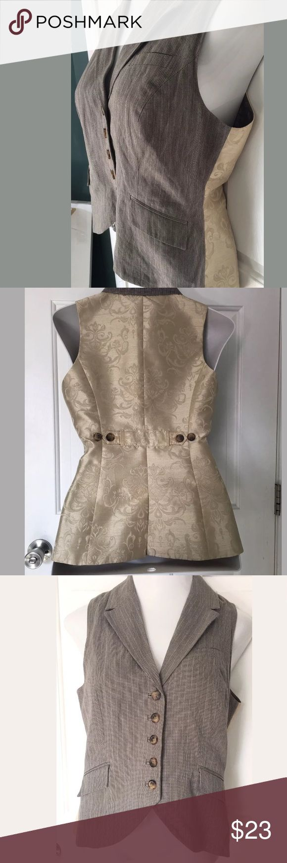 """Women's CAbi Gold Vest Women's Cabi Gold Vest Size M Measurements: Bust: 34-36"""" Length: 24"""" Condition: Excellent  This beautiful vest is made from 95% Cotton and 5% Metal. Vest is beautifully designed inside and out and can be worn with a great variety of looks. Vest is in excellent condition. Thank you for considering this item! CAbi Other"""