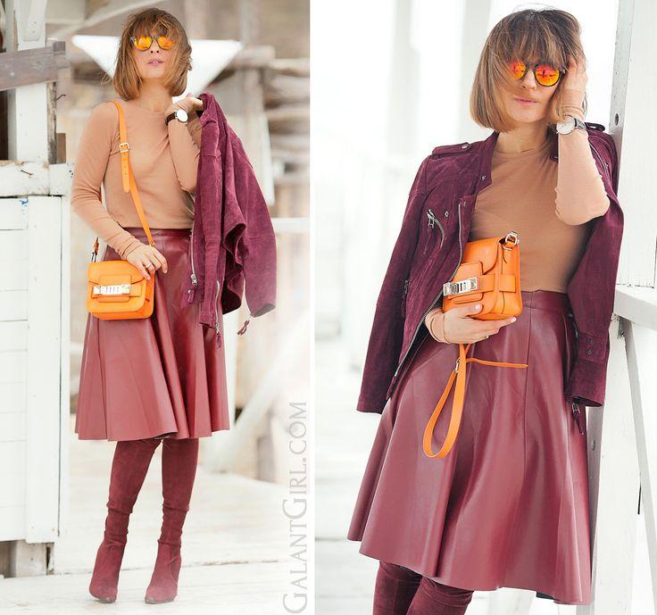 burgundy leather skater skirt, Proenza Schouler PS11 orange bag, galant girl,