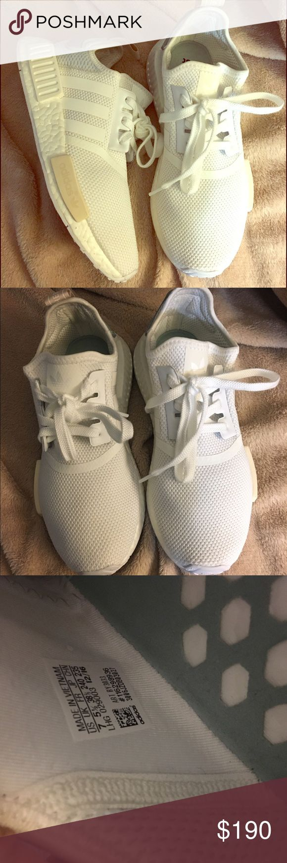 Adidas originals nmd size 7 Authentic adidas originals nmd in white/tactile green women's size 7. Only worn 1x. No stains only show wear on the bottoms. No low ball offers or trades 🙅🏻. Does not come w box. Casual style and technical running features collide in the modern and effortlessly casual adidas Originals NMD Runner. Three upper combinations include stretchy jersey and canvas with a reflective, open mesh heel, neoprene and mesh, or suede and peached jersey. Adidas Shoes Athletic…