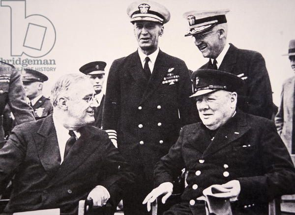 Franklin D. Roosevelt and Winston Churchill on board the Prince of Wales, after signing the Atlantic Charter, 14th August 1941 (b/w photo)