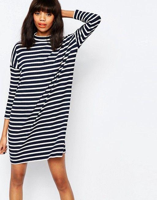 Monki | Полосатое платье‑футболка в стиле oversize Monki
