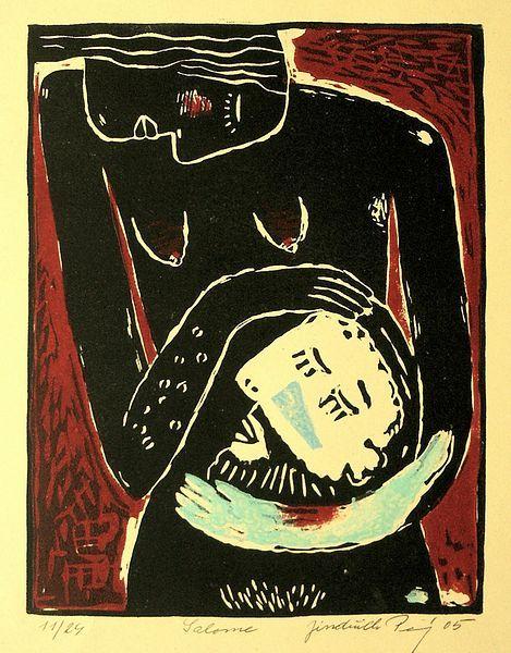 Salome,linocut, 20 x 15,5 cm by Jindřich Pevný