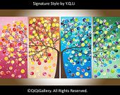 """Original Large Abstract painting landscape wall hangings wall decor four seasons tree""""365 Days of Happiness"""" by qiqigallery"""