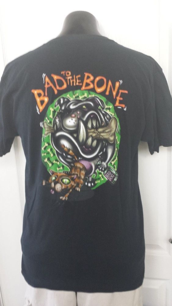George Thoroggood and the Destroyers Band Bad To The Bone Dog Cat Logo T-Shirt L #FruitoftheLoom #GraphicTee