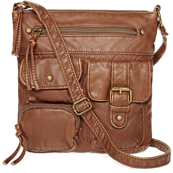 T-Shirt & Jeans™ Triple Pocket Crossbody Bag ($27) ❤ liked on Polyvore featuring bags, handbags, shoulder bags, brown purse, brown cross body, zipper purse, brown handbags and imitation purses