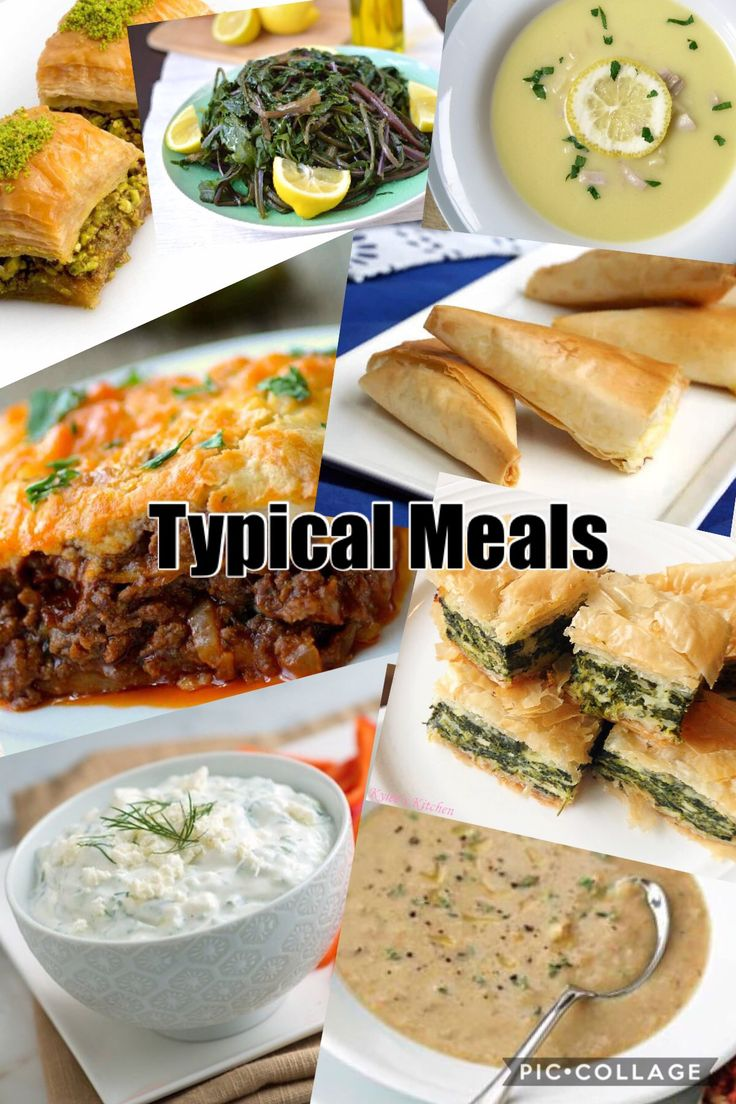 These are some typical meals in Greece, Moussaka, Tiropites (phyllo cheese triangles), Tzatziki (creamy cucumber with yogurt dip) and more.