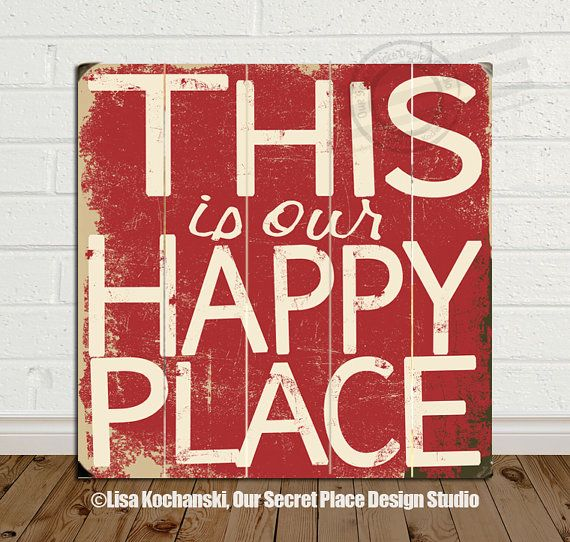 This is Our Happy Place Sign  Distressed Wood Sign Planked Wood Sign Wooden Signs New apartment decor New Couple decor New home gifts by OurSecretPlace