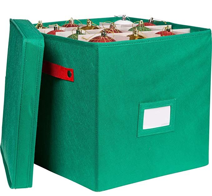 Pakkin Christmas Ornaments Storage Box with Lid and 4 Adjustable