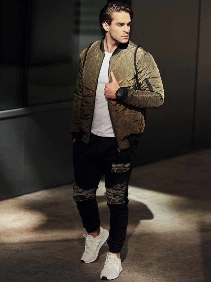 Streetwear outfit in military style from the Bolf collection. The white long sleeve top nicely works together with comfy joggers with camo inserts. What's better is the trendy green quilted bomber jacket and a sport camo watch.