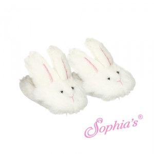 White Bunny Slippers - shoes for American Girl® and other 18 inch dolls