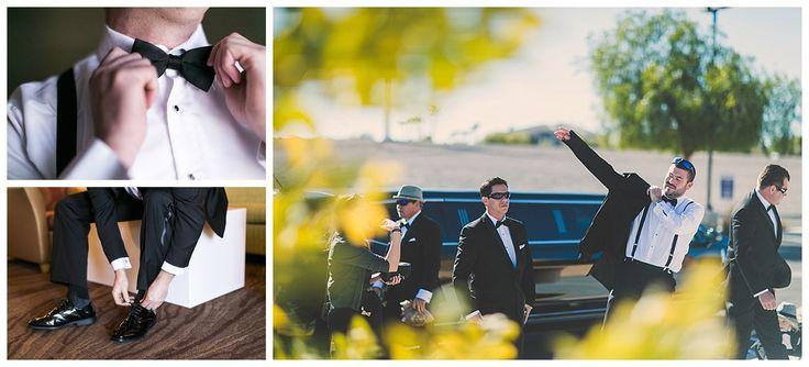 Dragon Ridge Country Club wedding, Las Vegas wedding planner, groom getting ready, groomsmen, black tie wedding, tuxedo, wedding transportation