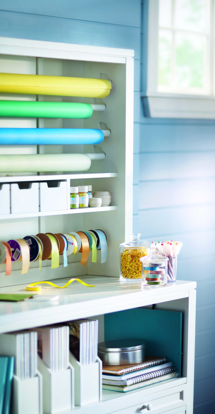 Organize your gift wrapping with #MarthaStewartLiving craft furniture.
