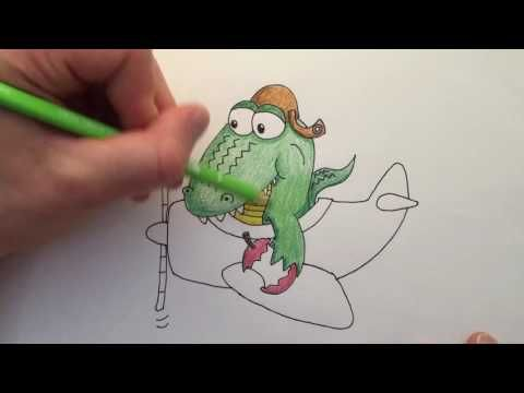 Watch me draw an Alligator eating an Apple on an Airplane. Then download the free printable colouring page below and color it in yourself!