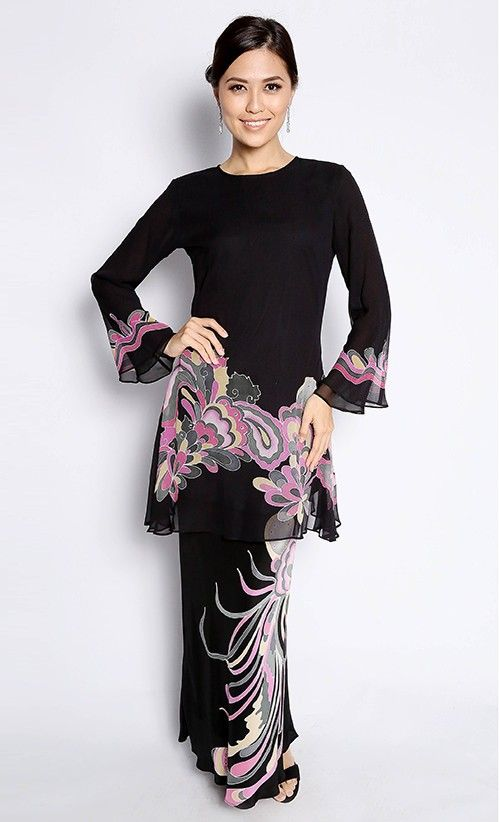 Bayou Batik # Baju Kurung Maryam in Black and Pink