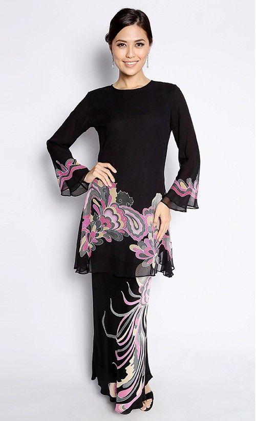 Bayou Batik # Baju Kurung Maryam in Black and Pink