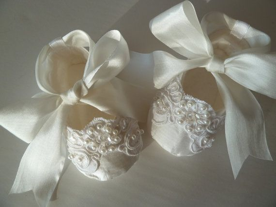 Baby Girl Shoes . Christening Shoes . White Silk and by JibJabbers, $45.00