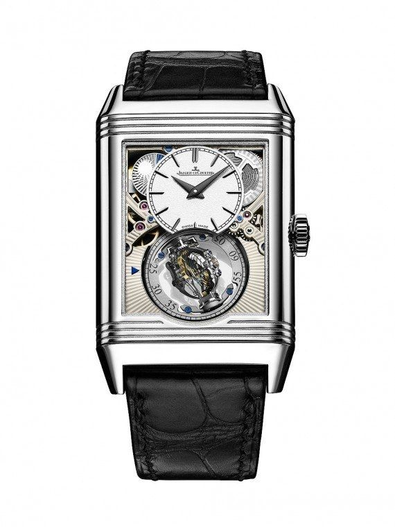 The  @jlcwatches Reverso Tribute Gyrotourbillon, a platinum cased, open-dialed, micromechanical marvel limited to 75 pieces. It comes equipped with a new version of JLC's now-famous bi-axial flying tourbillon device.  More @ http://www.watchtime.com/wristwatch-industry-news/watches/jaeger-lecoultre-reverso-tribute-gyrotourbillon-crown-jewel-of-the-reversos-85th-anniversary/ #jaegerlecoultre #watchtime #SIHH2016