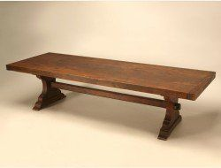 French Solid White Oak Trestle Table
