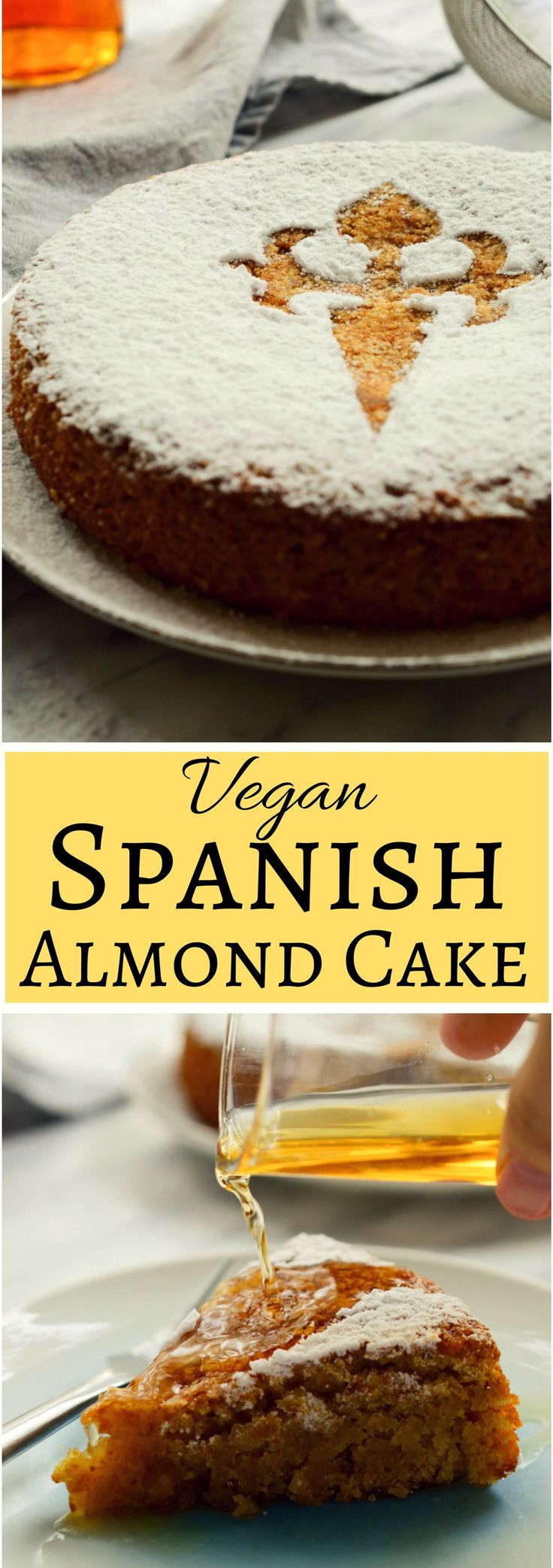 This Spanish almond cake is a vegan version of the traditional Tarta de Santiago from Galicia. This cake is easy to make with minimal ingredients and #aquafaba . Decorated with the Cross of Saint James and served with Spanish moscatel (or other sweet liqueur), this #vegan #spanish almond cake makes a great #dessert to a holiday or a regular weeknight dinner!