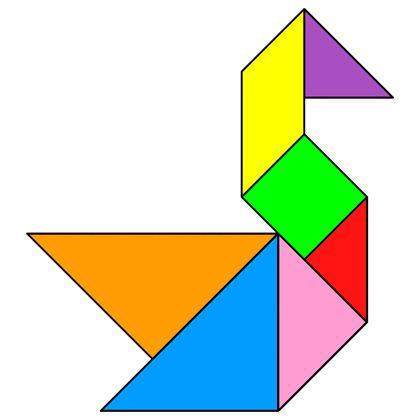Tangram Swan - Tangram solution #16 - Providing teachers and pupils with tangram puzzle activities