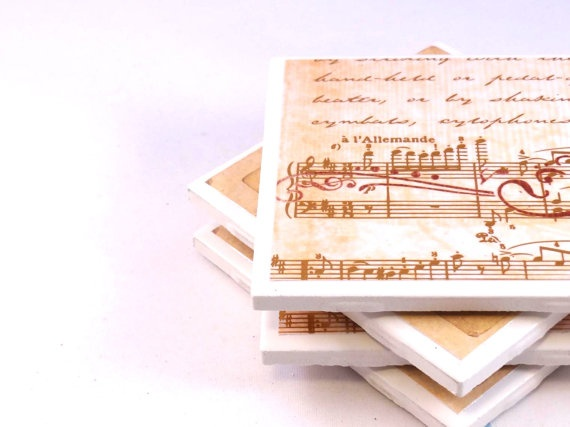 Music Tile Coasters - Notes and Drums - Set of 4 Ceramic Tile Coasters. $13.00, via Etsy.
