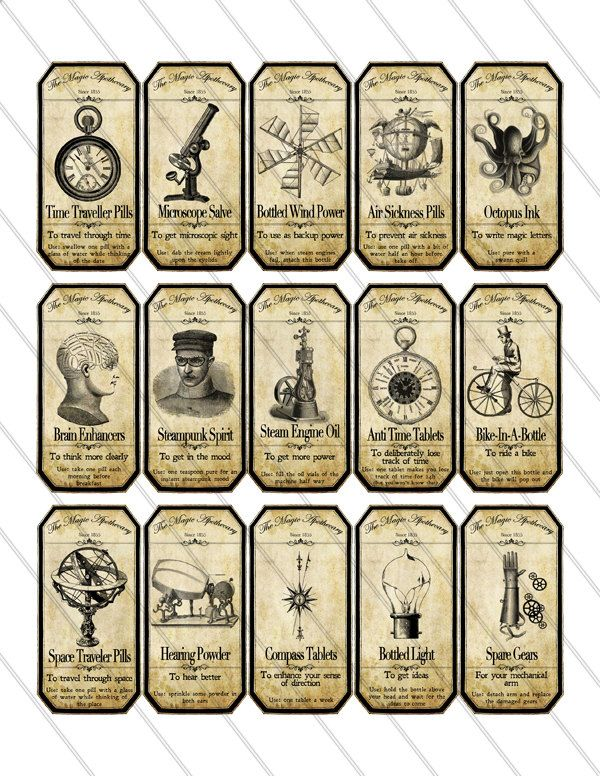 Steampunk Apothecary Bottle Labels Jar Labels Tags Halloween instant download printable  images digital collage sheet 151. $3.20, via Etsy.