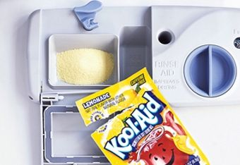 Kool Aid Lemonade to clean  soap scum and other left of things in your dishwasher!! a must try!!