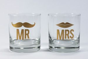 cute Mr and Mrs mustache/lips toast glasses