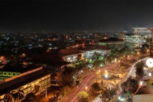 Night in Pekanbaru, Riau, Indonesia.
