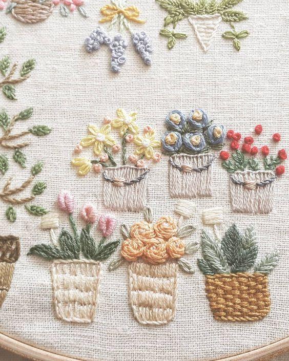 #꽃 #꽃화분 쪼로록~^^ #꽃가게 #프랑스자수 #자수 로 놀기