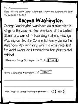 George Washington:George Washington Close Reading - This George Washington product includes a close reading passage about George Washington and follow up activities.