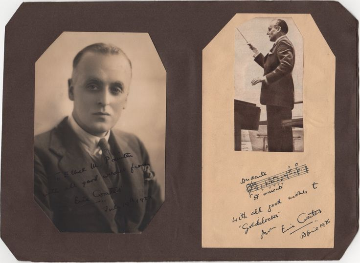COATES ERIC: (1886-1957) English Composer, composed the famous main title march of the film score to The Dam Busters (1954). A.M.Q.S., Eric Coates, on an 8vo page with the upper two corners neatly clipped, n.p., April 1936. In dark fountain pen ink Coates has neatly penned a quotation of two bars from an unidentified work, adding an inscription beneath. Above the quotation appears a neatly affixed magazine image of Coates standing in a three quarter length pose conducting.