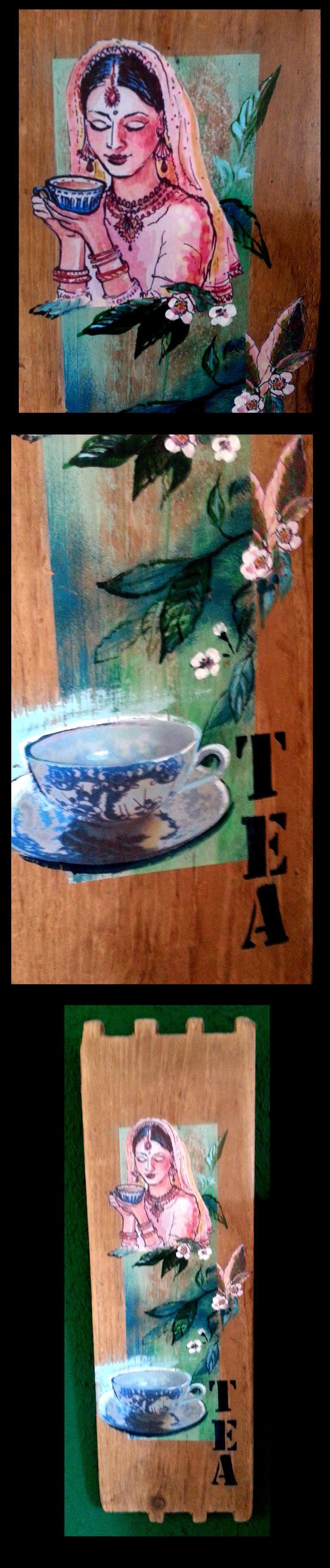 TEA - Mixed Media auf Holz, Karina Fulara
