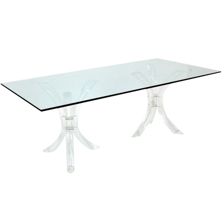 Bent Lucite Double Tripod Base Glass Top Dining Conference Table