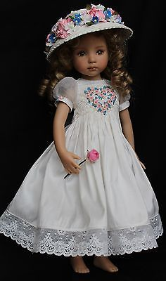 """Smocked Embroidered Silk Outfit for Dianna Effner's 13"""" Little Darling Dolls 
