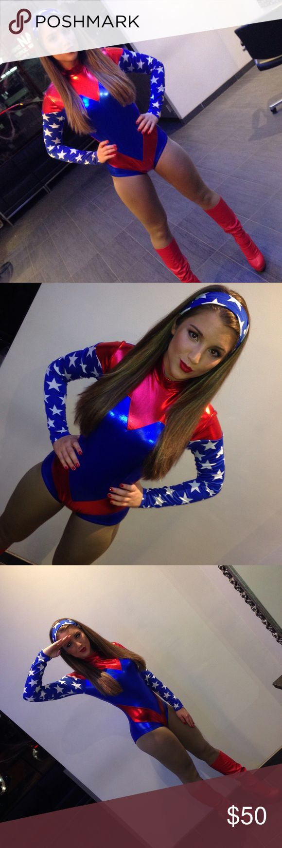 Super Woman costume Worn once. Had tights underneath.  Compliments ones body shape. Does not come with red boots. Just headband and body suit. Perfect condition. Foreplay Other