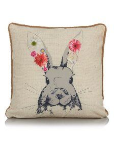 George Home Rabbit with Flowers Cushion 43x43cm | Cushions | ASDA direct