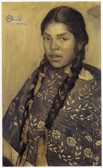 Saturnino Herran - Mujer con quexquemetl, Mexico.  - visit www.mainlymexican... #Mexico #Mexican #home #décor #style #collectible #art #watercolor #painting #etching